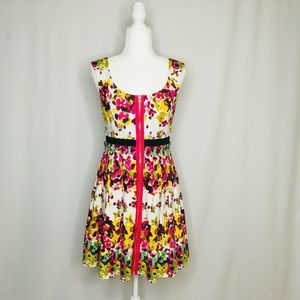 Guess Los Angeles floral dress front zip size 4
